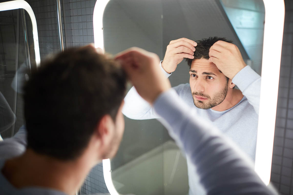 Man worrying about his hair
